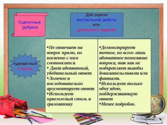 Оценочные рубрики Для оценки контрольной работы или домашнего задания Адекват...