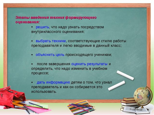 Этапы введения техник формирующего оценивания: решить, что надо узнать посред...