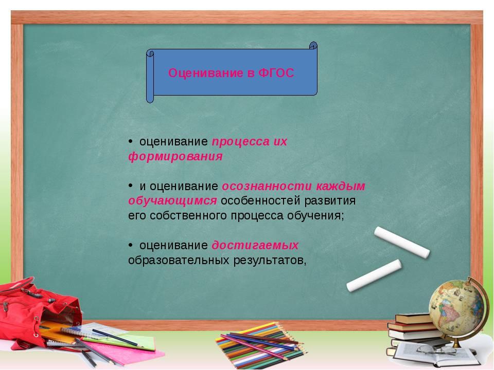 Оценивание в ФГОС оценивание процесса их формирования и оценивание осознаннос...