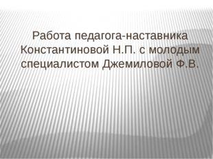 Работа педагога-наставника Константиновой Н.П. с молодым специалистом Джемило