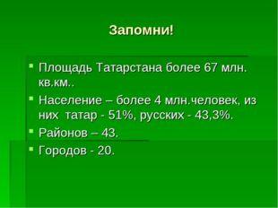 Запомни! Площадь Татарстана более 67 млн. кв.км.. Население – более 4 млн.чел