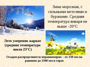 Зима морозная, с сильными метелями и буранами. Средняя температура января не