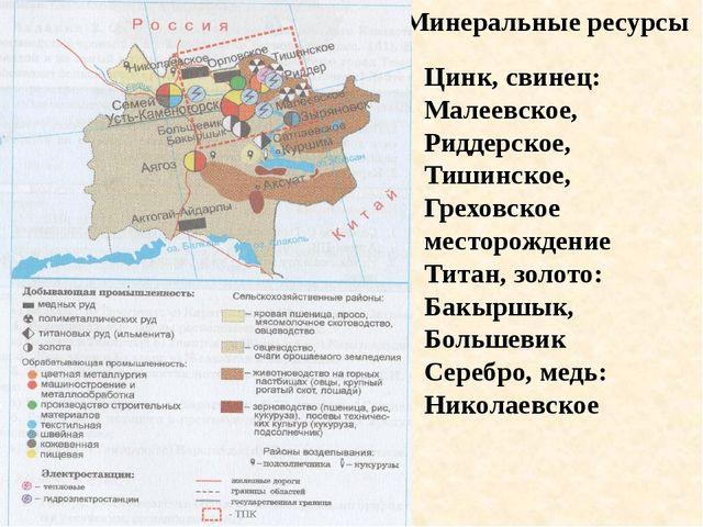 Минеральные ресурсы Цинк, свинец: Малеевское, Риддерское, Тишинское, Греховск...