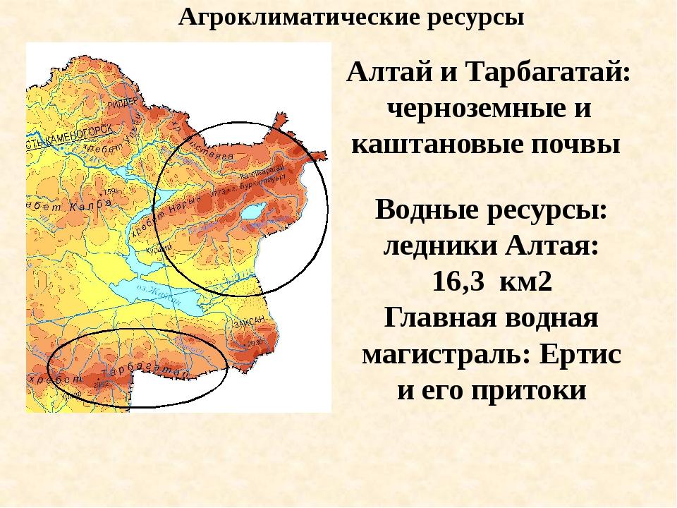Агроклиматические ресурсы Алтай и Тарбагатай: черноземные и каштановые почвы...