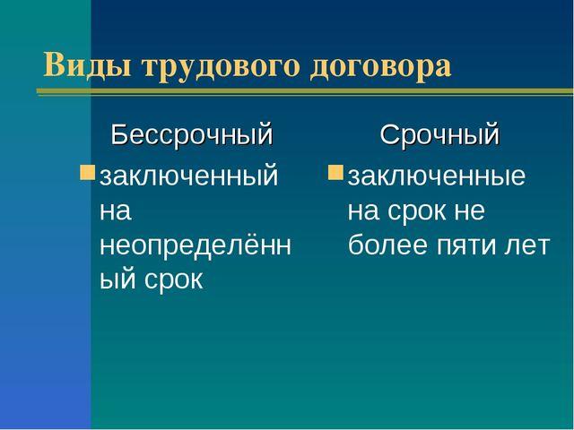 Виды трудового договора Бессрочный заключенный на неопределённый срок Срочный...