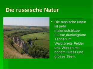 Die russische Natur Die russische Natur ist sehr malerisch:blaue Flusse,dunke