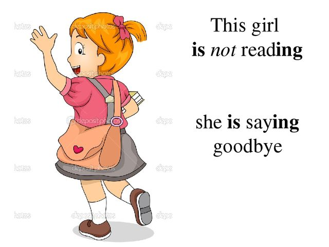 This girl is not reading she is saying goodbye