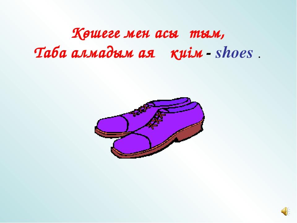 Көшеге мен асықтым, Таба алмадым аяқ киім - shoes .
