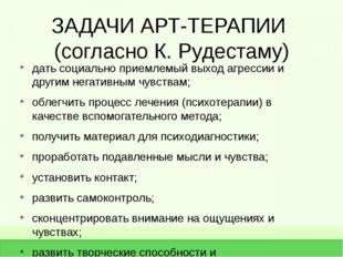 ЗАДАЧИ АРТ-ТЕРАПИИ (согласно К. Рудестаму) дать социально приемлемый выход аг