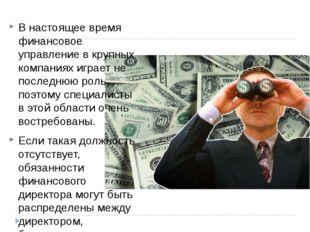 В настоящее время финансовое управление в крупных компаниях играет не последн