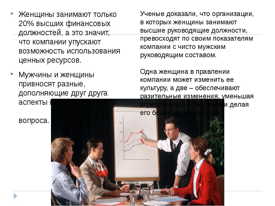 Женщины занимают только 20% высших финансовых должностей, а это значит, что к...