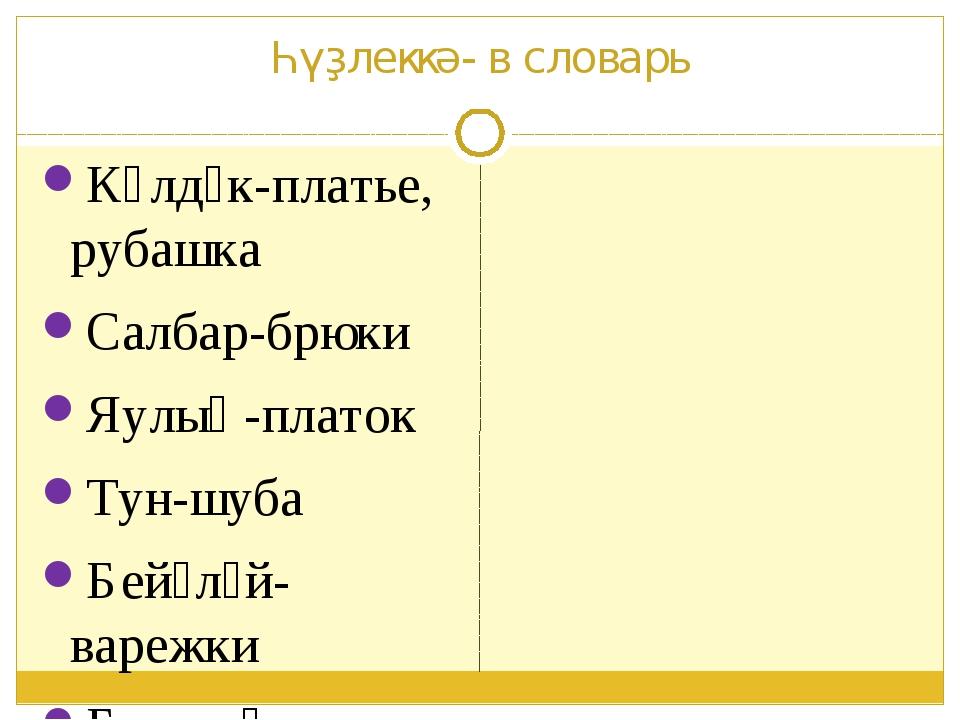 Һүҙлеккә- в словарь Күлдәк-платье, рубашка Салбар-брюки Яулыҡ-платок Тун-шуба...