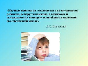 «Научные понятия не усваиваются и не заучиваются ребенком, не берутся памятью