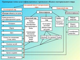Примерная схема классификационных признаков объекта материального мира Загада
