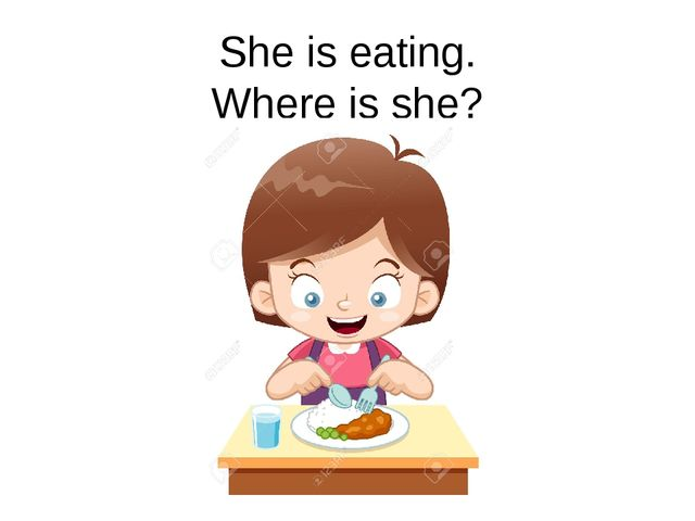 She is eating. Where is she?