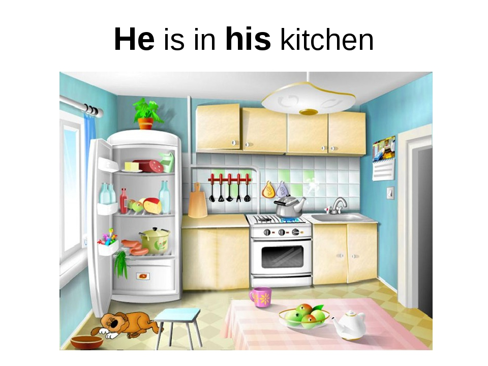 He is in his kitchen