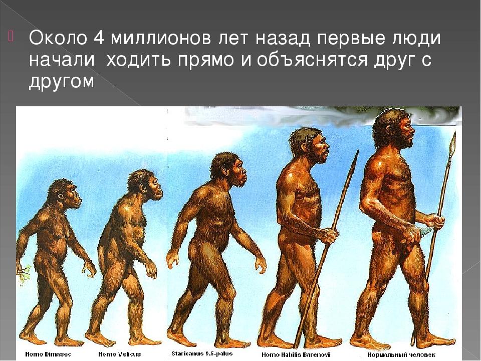 Около 4 миллионов лет назад первые люди начали ходить прямо и объяснятся друг...