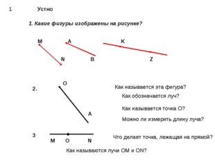 1 Устно 1. Какие фигуры изображены на рисунке? М A K N B Z Как обозначается л