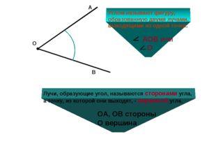 О А В Углом называют фигуру, образованную двумя лучами, выходящими из одной т