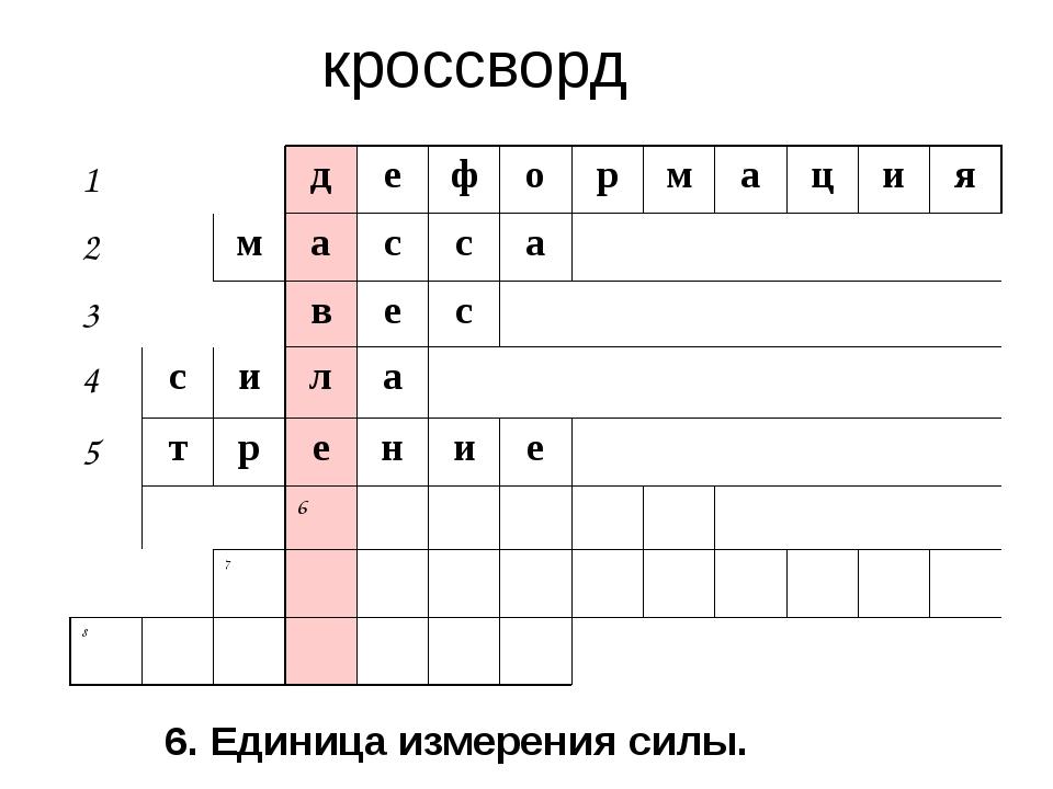 кроссворд 6. Единица измерения силы. 1 д е ф о р м а ц и я 2 м а с с а 3 в е...