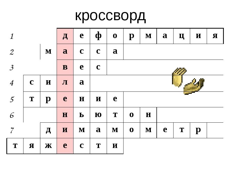 кроссворд 1 д е ф о р м а ц и я 2 м а с с а 3 в е с 4 с и л а 5 т р е н и е 6...