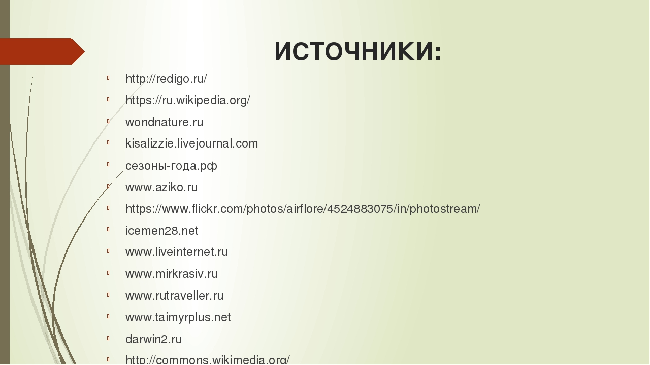 ИСТОЧНИКИ: http://redigo.ru/ https://ru.wikipedia.org/ wondnature.ru kisalizz...
