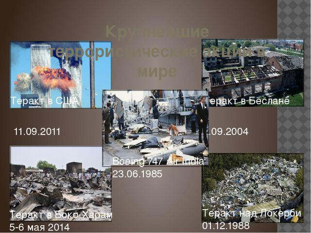 Крупнейшие террористические акции в мире Теракт в США Теракт в Беслане 11.09....