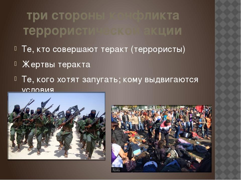 три стороны конфликта террористической акции Те, кто совершают теракт (терро...