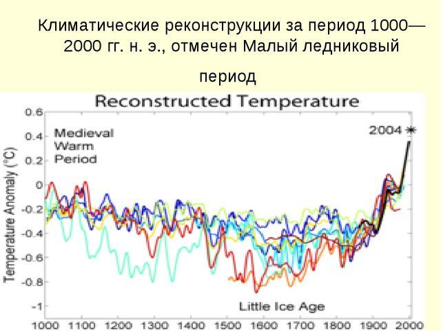 Климатические реконструкции за период 1000—2000гг. н.э., отмечен Малый лед...