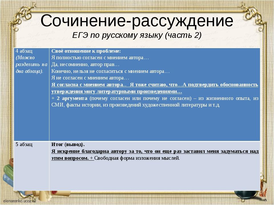 Сочинение-рассуждение ЕГЭ по русскому языку (часть 2) 4 абзац (Можно разделит...
