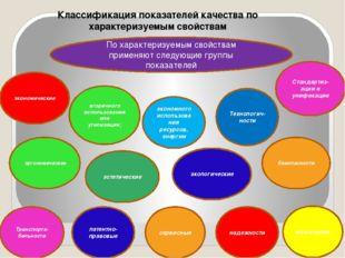 Классификация показателей качества по характеризуемым свойствам По характериз