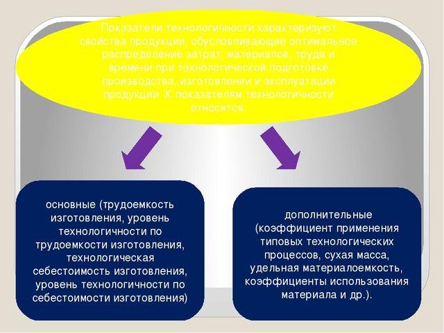 Показатели технологичности характеризуют свойства продукции, обусловливающие...
