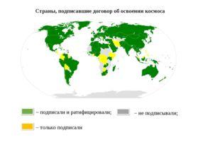 Страны, подписавшие договор об освоении космоса – подписали и ратифицировали;