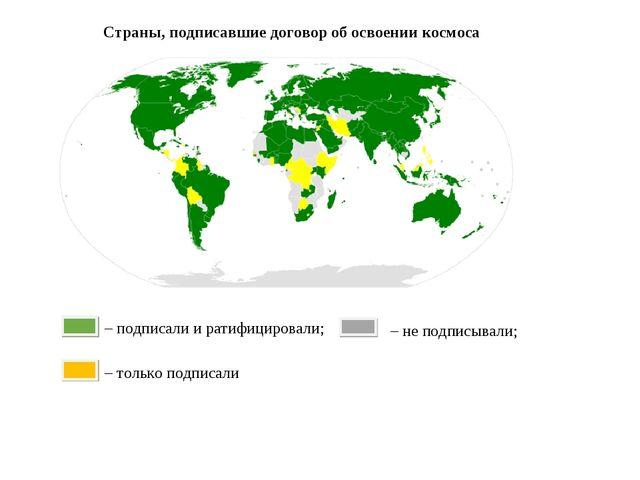 Страны, подписавшие договор об освоении космоса – подписали и ратифицировали;...