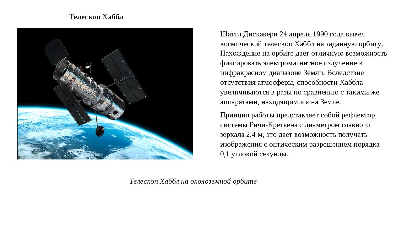 Шаттл Дискавери 24 апреля 1990 года вывел космический телескоп Хаббл на задан...