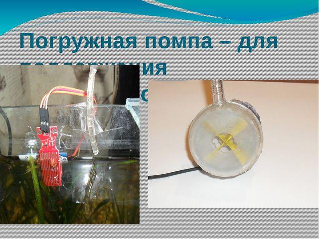 Погружная помпа – для поддержания необходимого уровня воды.