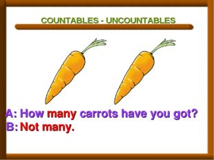 COUNTABLES - UNCOUNTABLES A: How many carrots have you got? B: Not many.