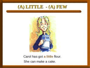 (A) LITTLE - (A) FEW Carol has got a little flour. She can make a cake.