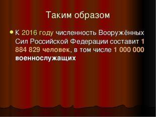 Таким образом К2016 годучисленность Вооружённых Сил Российской Федерации со