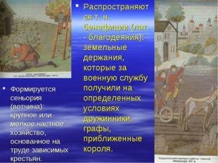 Распространяются т. н. бенефиции (лат. - благодеяния): земельные держания, ко