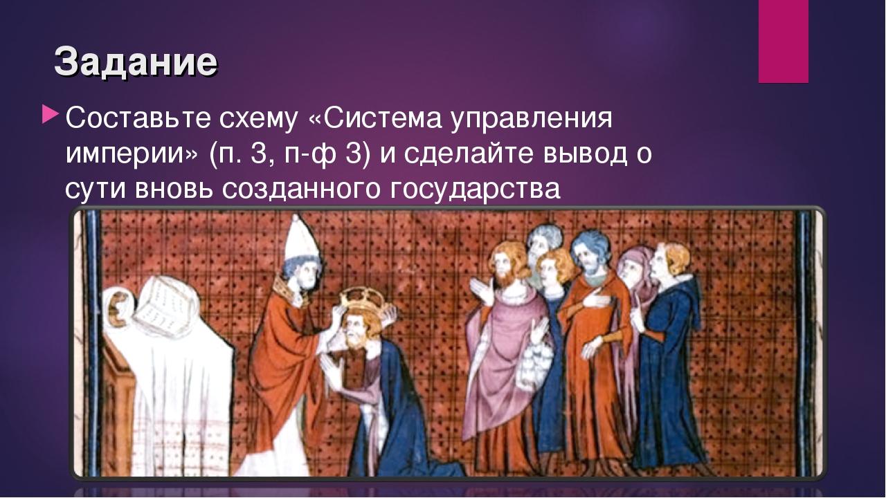Задание Составьте схему «Система управления империи» (п. 3, п-ф 3) и сделайте...