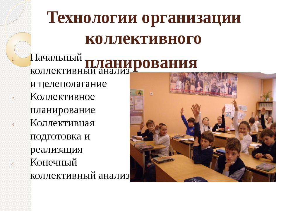 Технологии организации коллективного планирования Начальный коллективный анал...