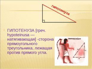 ГИПОТЕНУЗА [греч. hypoteinusa — натягивающая] -сторона прямоугольного треуго