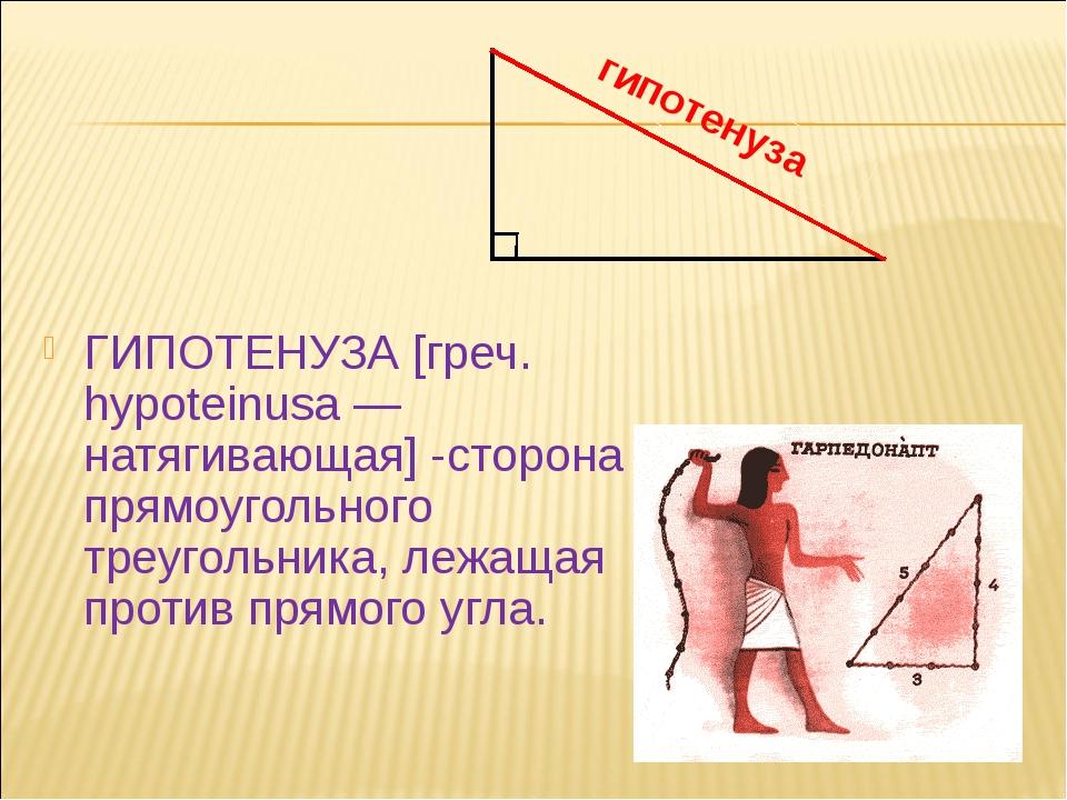 ГИПОТЕНУЗА [греч. hypoteinusa — натягивающая] -сторона прямоугольного треуго...