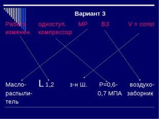 Вариант 3 Работа одноступ. МР ВЗ V = const изменен. компрессор Масло- L 1,2 з