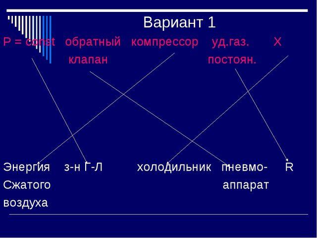 Вариант 1 Р = const обратный компрессор уд.газ. Х клапан постоян. Энергия з-н...