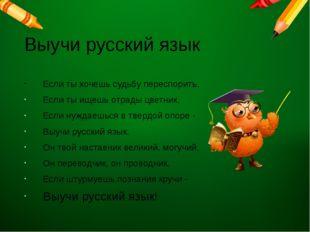 Выучи русский язык Если ты хочешь судьбу переспорить, Если ты ищешь отрады ц