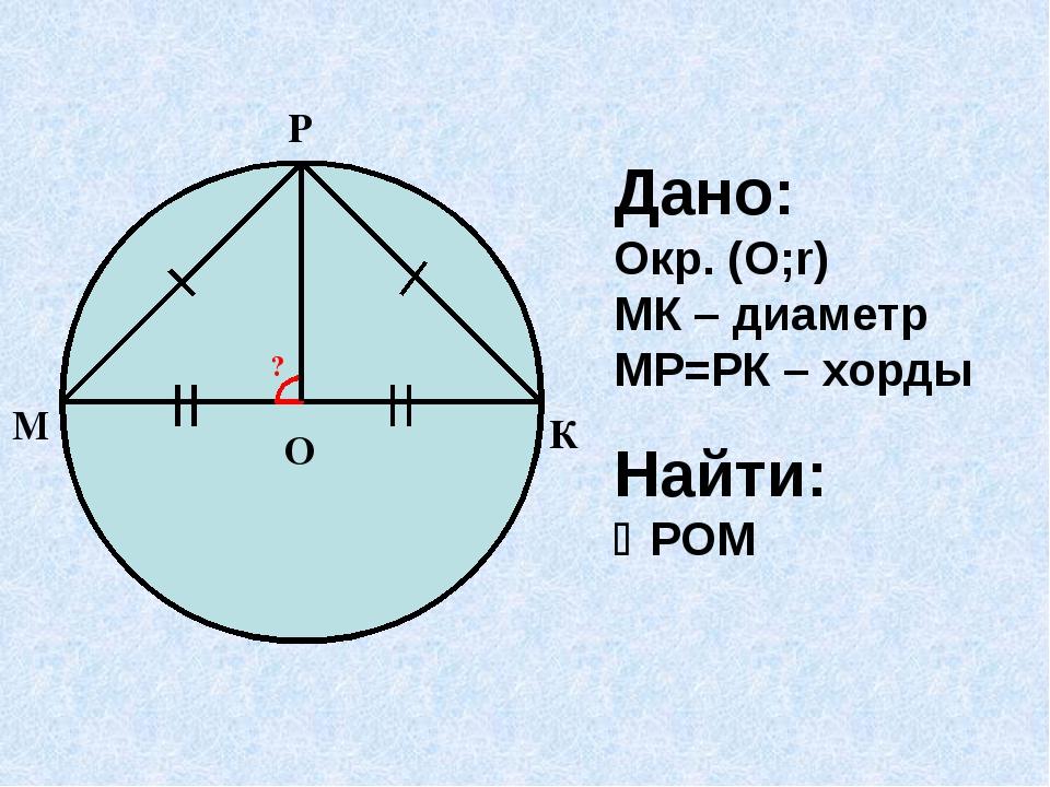Дано: Окр. (О;r) МК – диаметр МР=РК – хорды Найти: РОМ К М О Р ?