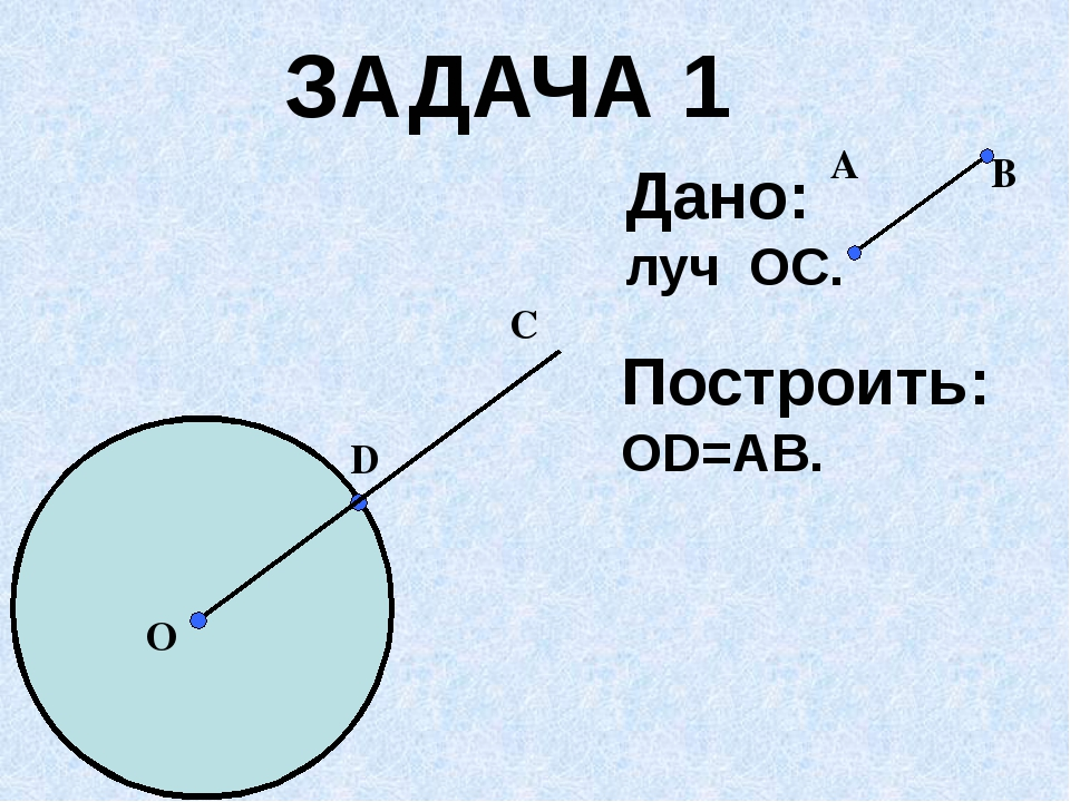 Построить: ОD=AB. D О C ЗАДАЧА 1 Дано: луч ОС. A B