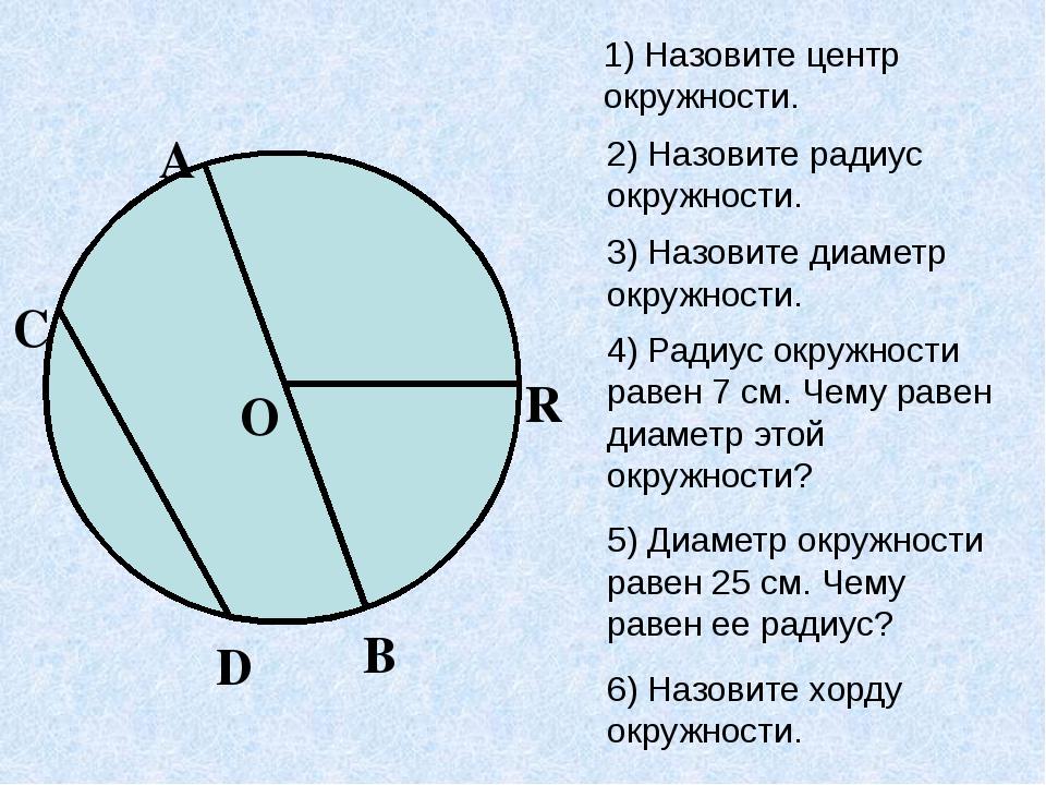 1) Назовите центр окружности. 2) Назовите радиус окружности. 3) Назовите диам...